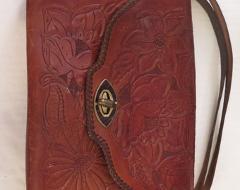 Vintage Handcrafted Tooled Leather Southwestern Style Shoulder Handbag Hippie Boho Purse