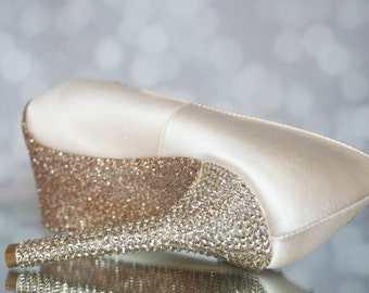 Crystal Wedding Shoes -- Blush Platform Peep Toe Wedding Shoes with Blush Lace Accents, Swarovski Crystal Heel and Glittered Sole
