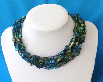 Blues And Greens Ocean Breeze Ladder Yarn Necklace