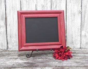 Red Shabby Chic Rustic 8 x 10 Framed Chalkboard, Menu Chalkboard, Photo Prop Chalkboard, Wedding Sign Chalkboard
