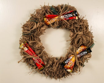 Instant Coffee, Upcycled Burlap Wreath