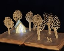Hansel and Gretel altered book art sculpture Christmas Birthday card