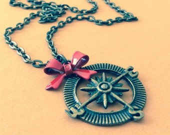 Wanderlust Compass Rose Necklace, Wrapped Up In A Bow, Steampunk Inspired Antique Brass, Enameled Metal Bow, Choice of Colors, Gift Wrapped
