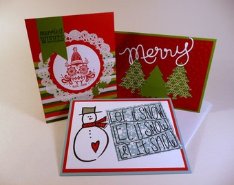 Christmas Cards set, 6 cards, Snowman, Christmas Trees, Christmas Owl, bright, cheerful, trendy, dimensional, embossed, hand stamped card