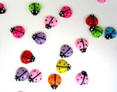 80 Resin Multicolor Ladybug Bug Cabochons for Jewelry Making Crafting