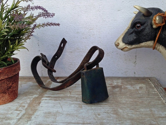 Wonderful Antique Cow Bell - Original Strap and Clapper - Smaller Size - Blue