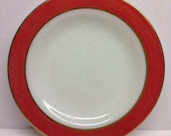 Pyrex plate coral band white center Gold trim 7 inch