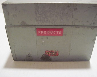 Metal Index Card Recipe File Box Vintage #122114