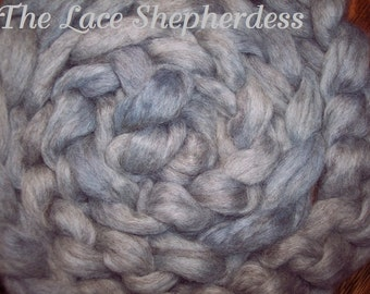 "Hand dyed Coopworth Wool Pin Draft Roving.  7.7 oz.""Blue Fog"""