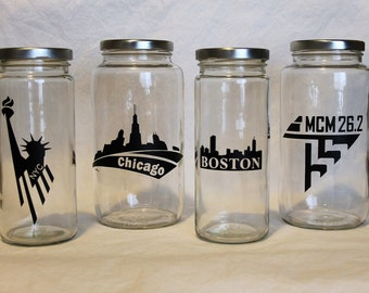 Race coin bank - jar bank, money bank, personalized glass bank, running, runner gift