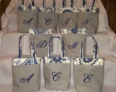 Monogrammed Gray Navy bridesmaid hostess gift wine mini tote bachelorette bag