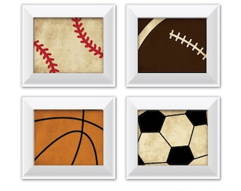 Set of 4 Vintage Sports Prints | Baseball | Football | Basketball | Soccer | Boys Room Decor | Kids Room Wall Art
