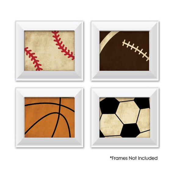 Vintage Baseball Wall Decor : Set of vintage sports prints baseball football by
