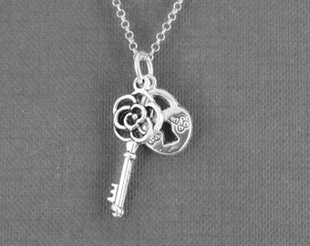 Heart Necklace, Key Necklace, Locket Necklace, Charm Necklace, Sterling Silver Necklace, love necklace