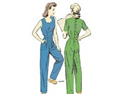 1940s Jumpsuit Pattern Advance 3239 Coveralls Sweetheart Neckline Back Button Size 16 Bust 34