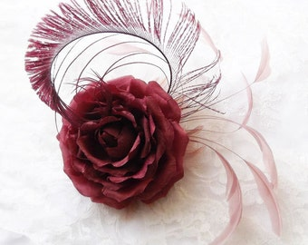 Silk Flower Hair Clip ~ fascinator ~Salmon Pink