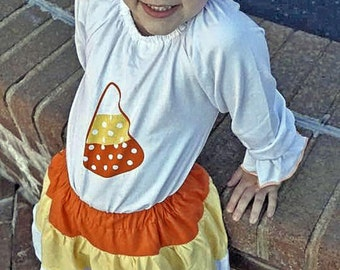 Cutesy Candy Corn Skirt & Shirt set