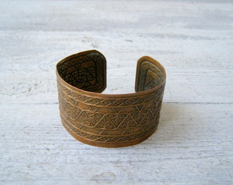 Engraved Cooper Cuff, Boho Bracelet, Adjustable Cuff, Vintage Jewelry  Ethnic, Mediterranean Cuff, Moroccan Tribe Patina Jewelry