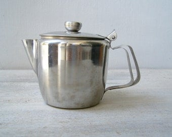 Vintage 80s Small Teapot For Two, Metal Old Hall Coffee Pot Stainless Steel, Retro Cafe Dish, Brunch Breakfast Hotel Serving