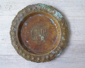 Patina Brass Decor, Etched Brass Plate, Vintage Jungalow Decor, Vintage Brass Plate Jungalow Style Decor, Verdigris Brass Decor Patina Plate