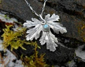Woodland Leaf Necklace With Labradorite - Made With a Real Leaf- Silvan Leaf - Artisan Handcrafted with Recycled Silver - Forest - Elven