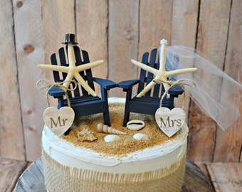 Navy blue-nautical-beach-themed-wedding-cake topper-Adirondack-chairs-beach chairs-miniature-destination-grooms cake-starfish-tropical-decor