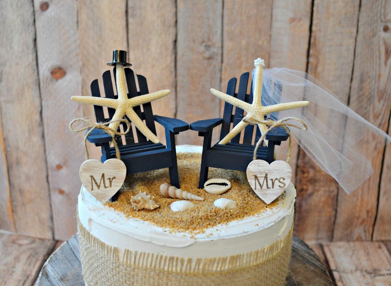 Navy Blue Nautical Beach Themed Wedding Cake