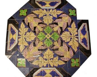 Japanese leafy tile mural
