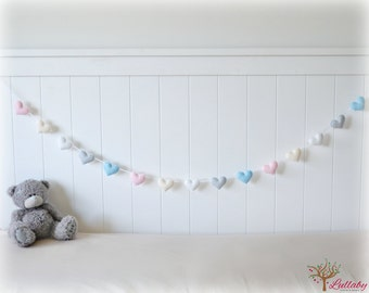 Pastel heart banner/ garland/ bunting in pink, cream, white, grey and blue felt - nursery decor - birthday decoration - MADE TO ORDER