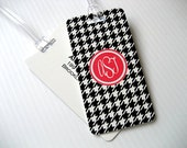 Luggage Tag - 4-Pack Houndstooth Monogram Luggage Tag Set- Travel Accessories - Personalized Luggage Tag - Black and White Travel Tag