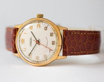 Classic men's wrist watch, gold plated AU 20 watch Rocket, retro gents gift, wristwatch shockproof, premium leather strap new