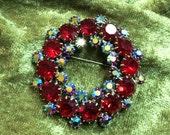 Kramer Circle Pin Red and AB Rhinestone Round Brooch 1950s Red Rhinestone Pin Mid Century Rhinestone Jewelry