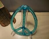 Vintage Heated Plastic Turquoise Peace Sign