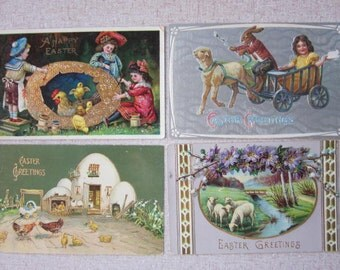 FREE SHIPPING Four Antique Victorian Easter Postcards with Chicks, Bunny, Lamb, and Children
