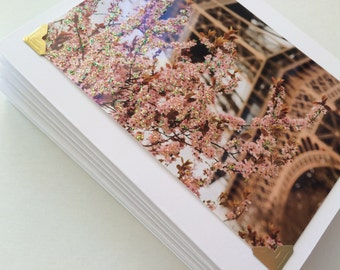 Glittery Cherry Blossoms at the Eiffel Tower All Occassion Custom Stationary