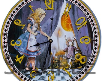 Alice and the White Rabbit clock, 15 inch diameter Alice in Wonderland wall clock, Runs backwards!