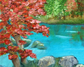 Autumn Day down by the Stream Impressionistic Oil Painting, Art Print, Wall Decor, Trees, Stream, Hiking
