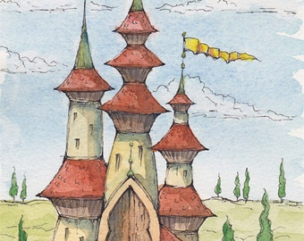 WATERCOLOR PAINTING: Original Artwork, Fantasy Art, Castle, Medieval Wall Art, Fantasy Landscape Mythical Land, Mystical Fairy Tale