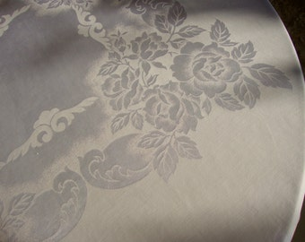 Lovely vintage tablecloth damask pink peach large tablecloths