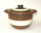 Denby England Russet Stoneware Sugar Bowl - Mid Century Covered Jar