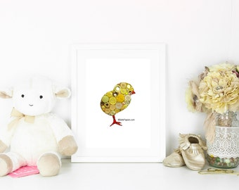 Easter Decoration Button Art Chick Baby Chick Peep Decoration Button Easter Decoration Art Baby Chick Baby Chick Art Yellow Chick Swarovski