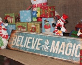 """Believe in the Magic // Christmas Decor // Metal Sign // 5.5"""" x 22"""" // Mantel Decor // Table Centerpiece // Wreath Accessories"""