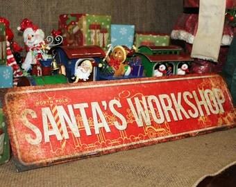 """Santa's Workshop // Christmas Decor // Metal Sign // 5.5"""" x 22"""" // Mantel Decor // Table Centerpiece // Wreath Accessories"""