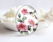 Bird Handmade Oval Photo glass Cabochons Image Glass Cover For Charm 30x40mm 18x25mm 13x18mm 10x14mm (P2359)
