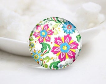 10mm 12mm 14mm 16mm 18mm 20mm 25mm 30mm Handmade Round  Photo Glass Cabochon Dome Flower Image Glass Cabs    (P2544)