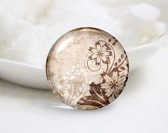 Handmade Round Photo glass Dome Flower (P2949)