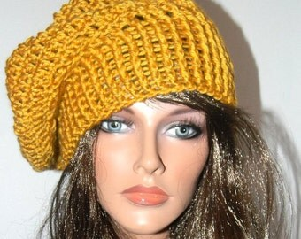 Crochet slouchy beret/tam/hat with matching fingerless gloves - Golden