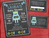 Printable Robot Baby Boy Shower Invitation Set: Invite + Diaper Raffle Ticket + Book Request  - Chalkboard Style - I design you print