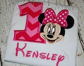 First Birthday - Minnie Mouse Applique Shirt!