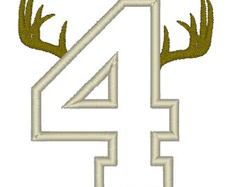 ANTLER Applique Birthday Numbers - Girl's or Boy's Birthday Shirt, Customize fabrics & colors - # 1-8 available